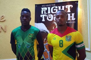 The Captains, Jamaica's Jevaughn Watson (L) and Guyana's Christopher Nurse (R).