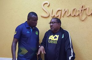 The Coaches, Theodore Whitmore of Jamaica (L) and Guyana's Jamal Shabazz (R)