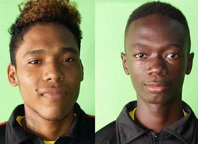 Guyana's outstanding goalkeeper Bobby David and goal scorer Doquan Wilson.