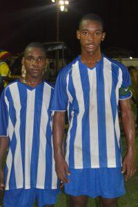 GFC goalscorers Lennox 'Tiger' Cort (L) and captain Curtez Kellman (R)