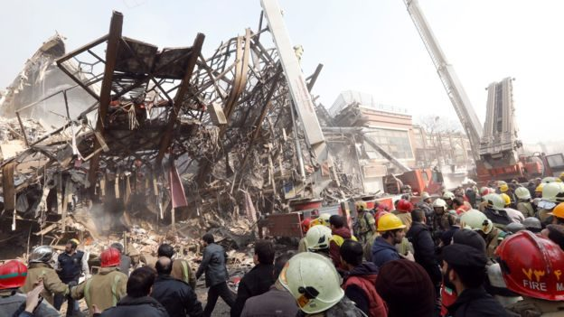 Tehran fire: Many feared dead as high-rise collapses