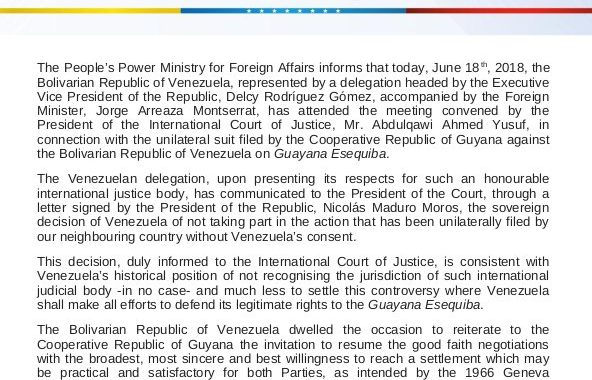 Venezuela opts out of border case at ICJ