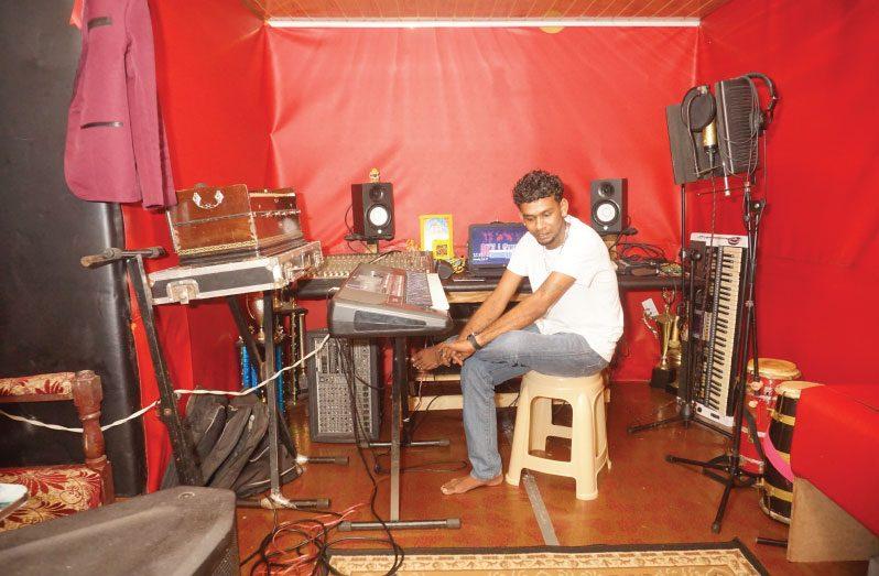 Local artiste/producer, Bunty Singh in his recording studio (Carl Croker photos)