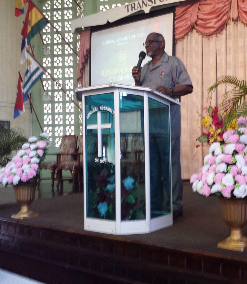 Rev. Dr. John O. Smith addresses the congregation