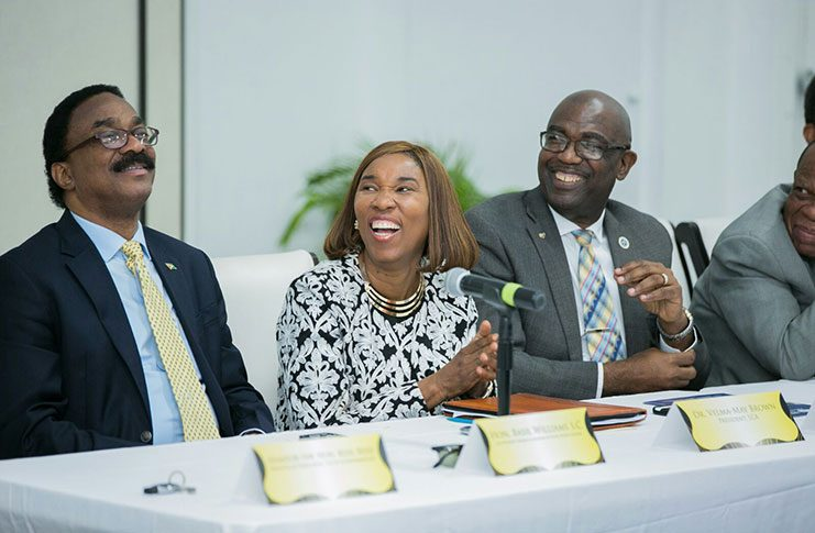 Attorney General and Legal Affairs Minister, Basil Williams, having a light moment with President of the Law School of the Americas, Dr. Velma Brown-Hamilton and President and Executive Chairman of UCC, Winston Adams