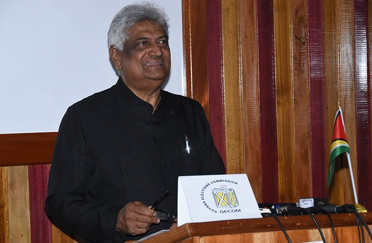 Outgoing Chairman of the Guyana Elections Commission (GECOM) Dr Steve Surujbally smiles during his last press briefing at the electoral body's headquarters on High Street, Kingston on Monday.