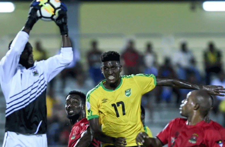 Part of the action in the Reggae Boyz, Antigua and Barbuda clash,