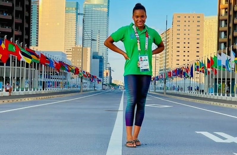 Aleka Persaud having a light moment in the Tokyo Olympics Athletes Village