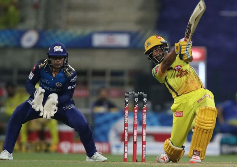 Ambati Rayudu goes for the big one in his top score of 71 for CSK. (BCCI photo)