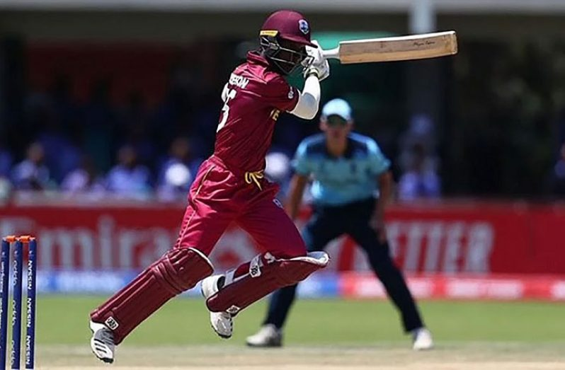 Kevlon Anderson of West Indies hits a ball towards the boundary in his top score of an unbeaten 86 against England. (IBC/Getty Images)