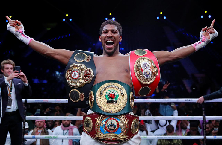 Anthony Joshua celebrates winning his match against Andy Ruiz Jr. (Action Images via Reuters/Andrew Couldridge)