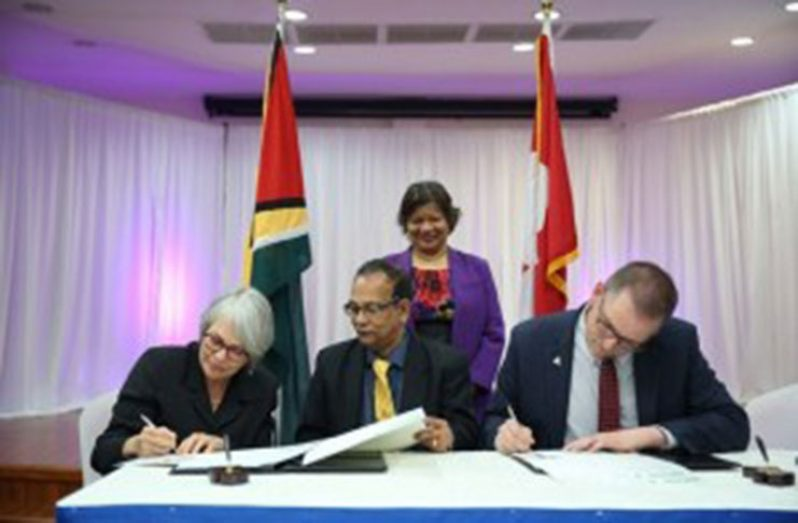 [In the photo, from left] Deputy Auditor General of the Office of the Auditor General of British Columbia, Sheila Dodds, Auditor General of Guyana, Deodat Sharma, Canadian High Commissioner to Guyana, Lilian Chatterjee [standing], and CAAF Programme Officer, Marc Belanger. (DPI photo)