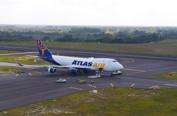 An Atlas Air B747 aircraft which brought the ballot papers from Canada earlier on Friday.
