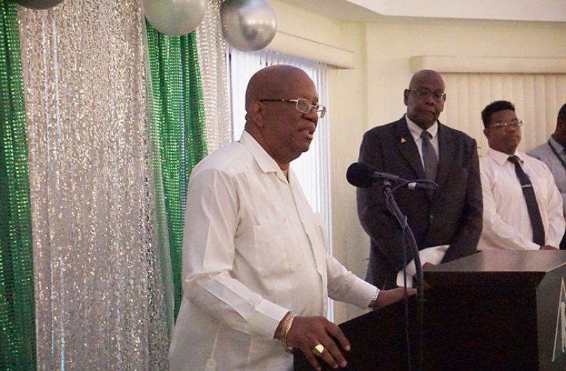 Minister of Finance Winston Jordan addressing officials of Citizens Bank Guyana Inc. (Carl Croker photo)