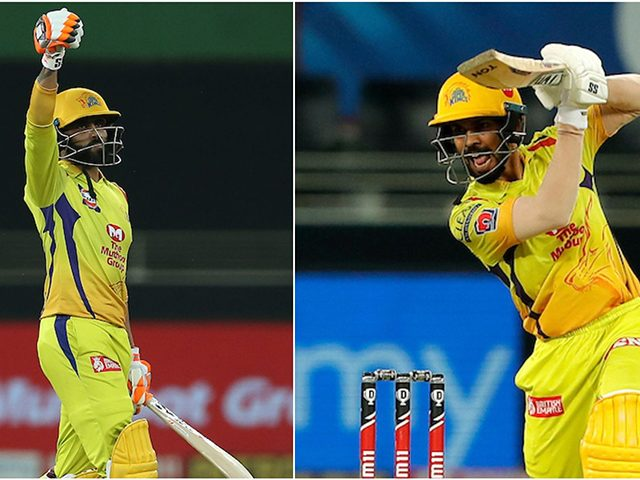 Ruturaj Gaikwad at (right) scored his second successive fifty while Ravindra Jadeja (left) slammed 31* off 11 balls as Chennai Super Kings beat Kolkata Knight Riders. (IPL photo)