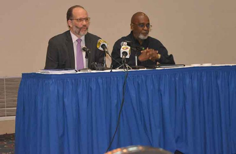 CARICOM Secretary General Irwin LaRocque addressing journalists at the Jamaica Pegasus on the Report of the Regional Commission on Marijuana