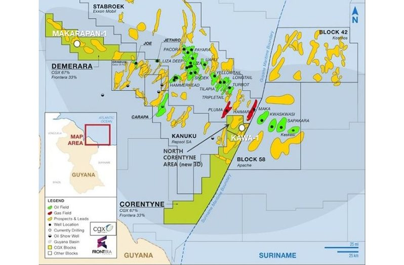 Map showing Guyana's blocks (Photo courtesy of CNW Group/Frontera Energy Corporation)