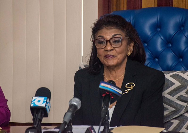 Chairperson of the Guyana Elections Commission (GECOM), Justice (Ret'd) Claudette Singh.