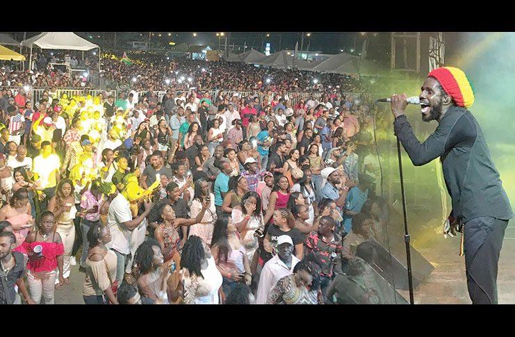 Chronixx during his ecstasy-filled performance at the Guyana National Stadium Saturday night