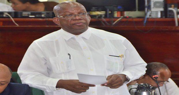 Finance Minister Winston Jordan addressing the House yesterday