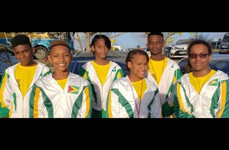 The six swimmers who represented Guyana at this year's CARIFTA Aquatic Championships
