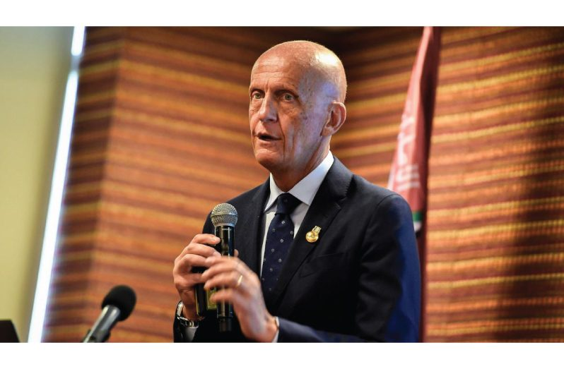 FILE PHOTO: Former Italian referee Pierluigi Collina addresses the audience while participating in a meeting about the implementation of the VAR (Video Assistant Referee) on the Fifa World Cup of Russia 2018 at the Conmebol head quarters in Luque, Paraguay September 8, 2018. REUTERS/Jorge Adorno