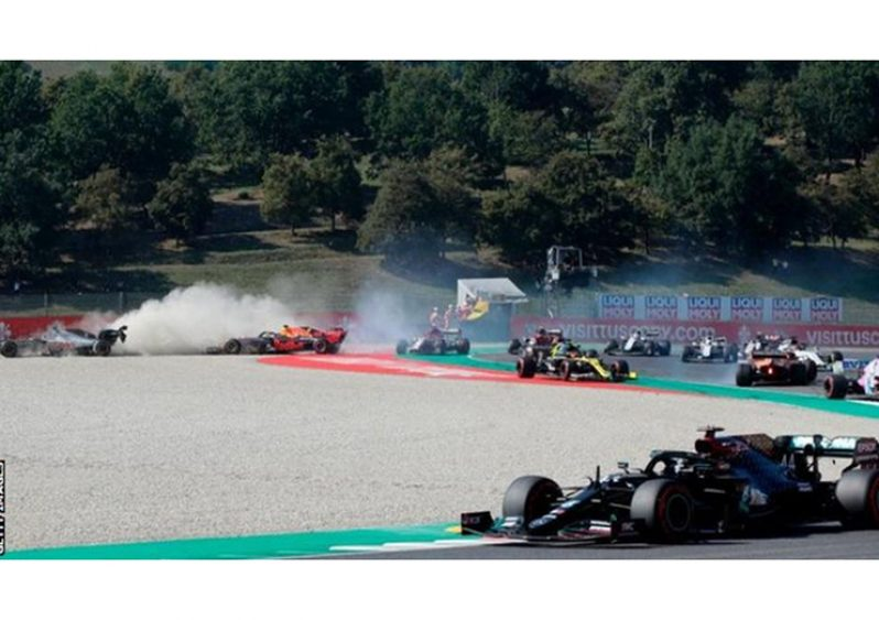 Romain Grosjean and Max Verstappen were two of the drivers who crashed out at the Tuscan Grand Prix.