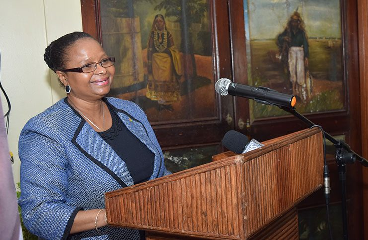 Social Protection,The Hon. Volda Lawrence, addresses the gathering at the Launch of the USAID/Eastern and Southern Caribbean Youth Empowerment Services (YES).