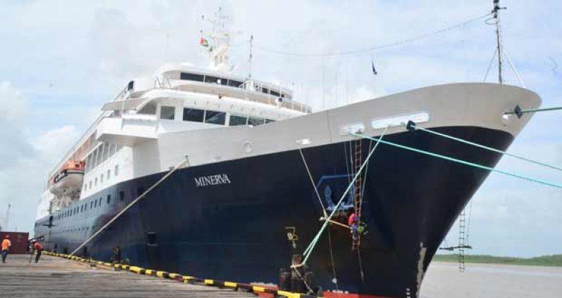 Cruise ship Minerva docked at GNSC wharf