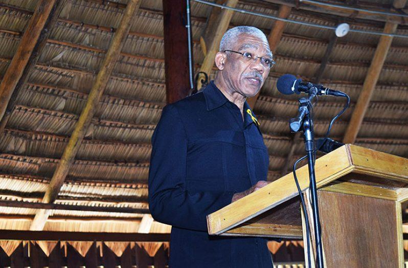 President David Granger addressing the Umana Yana gathering