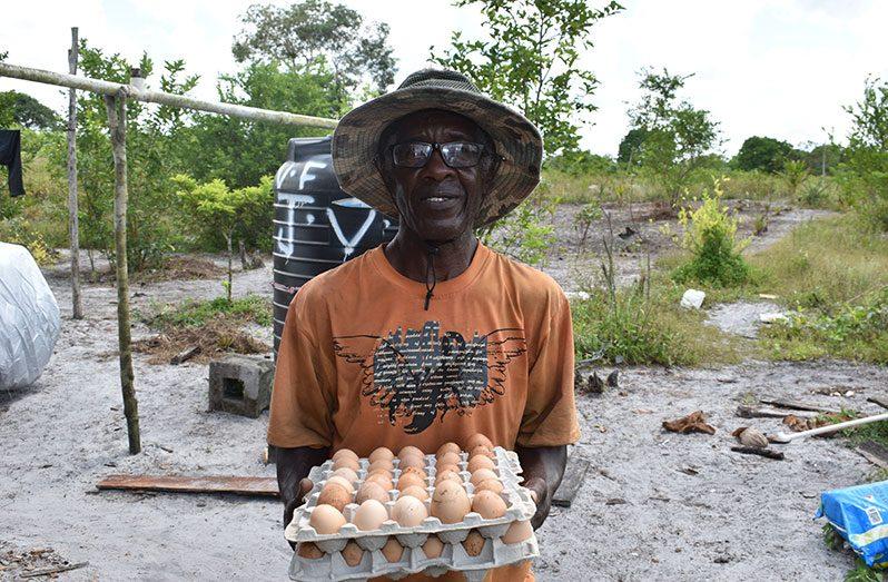 James Forde displaying his eggs (Carl Croker photos)