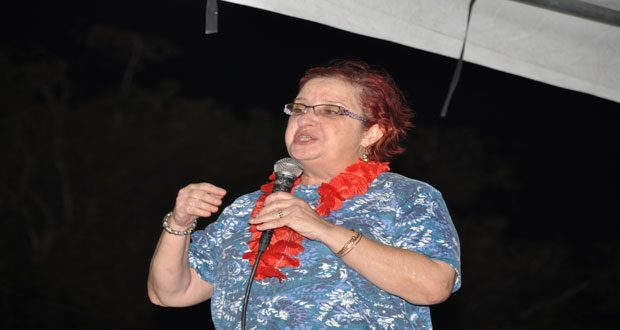 PPP stalwart, Ms Gail Teixeira, speaking to the residents of West Ruimveldt