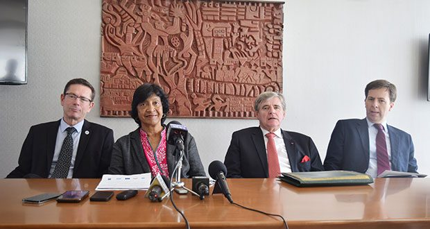 From left to right: United Nations Assistant Secretary-General, Office of the High Commissioner for Human Rights, Dr Ivan Simonovic; Commissioner of the International Commission against the Death Penalty, Justice Navi Pillay; Emeritus President of the Constitutional Court of Belgium, Professor Marc Bossuyt; and Charge d' Affaires, European Union Delegation Derek Lambe at a media conference on Wednesday at the Marriott Hotel, Kingston