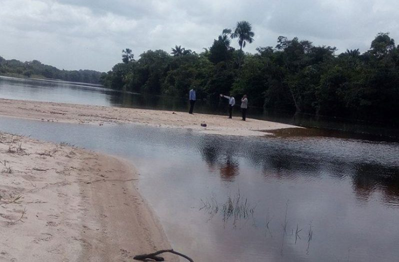 One of the growing sandbanks on the Demerara River in the vicinity of the Coomacka Mines