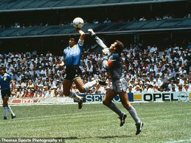 Diego Maradona leapt and punched in the opening goal for Argentina against England in 1986.