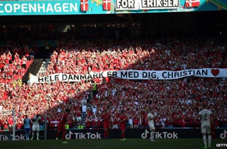 Fans showed support for Eriksen with huge banners in the stands.