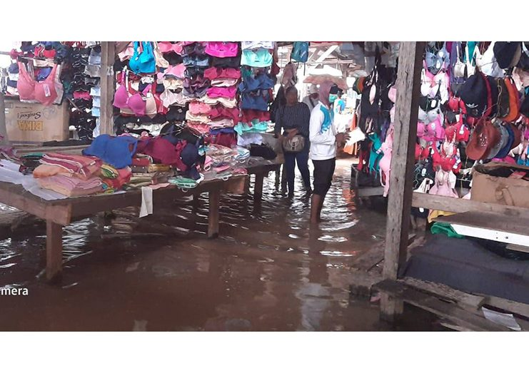 A section of the flooded market