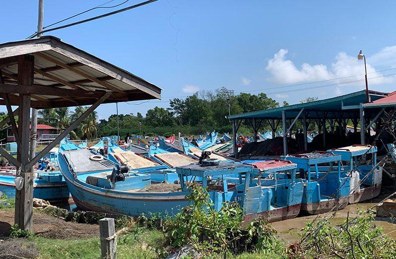 Boats moored at the Number 66 Fishery Complex in Corentyne, Berbice (Nafeeza Yahya photo)