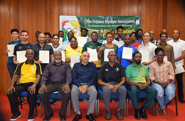The participants and facilitator of the IOC/GOA sport administrators course