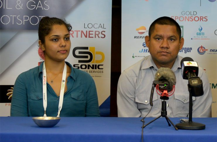 Pricilla Moore (left) with Sean Henry at the press briefing