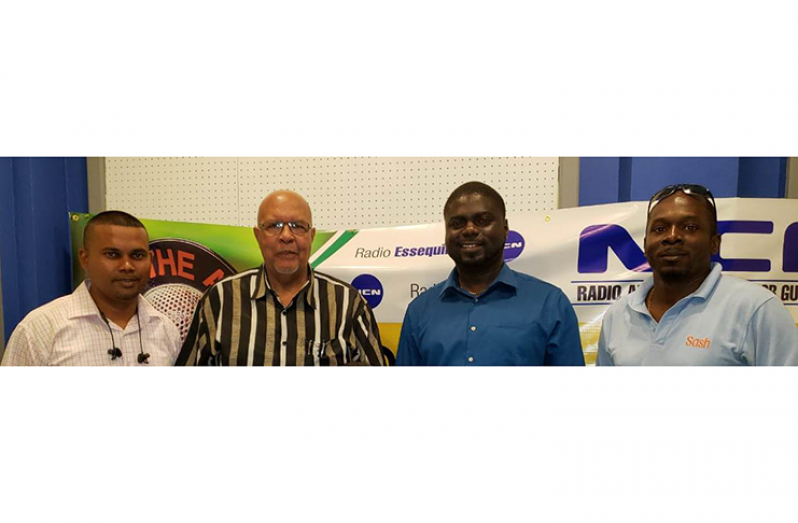 From L-R: GWI's Executive Director of Hinterland Services, Ramchand Jailal; GWI Managing Director, Dr. Richard Van-West Charles; Head of Water Quality, Dr. Deon Anderson; and Sanitation Consultant, Dr. Darren Shako.