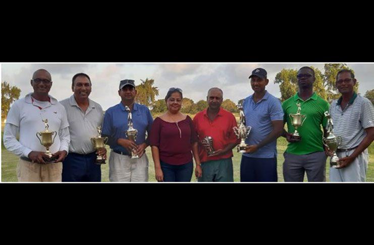 (From left): Sponsor Hardeo Ganpat, Club president Aleem Hussain, Ayube Subhan, Ramesh Amrud, Maxim Mangra, Gavin Todd and Patrick Prashad.