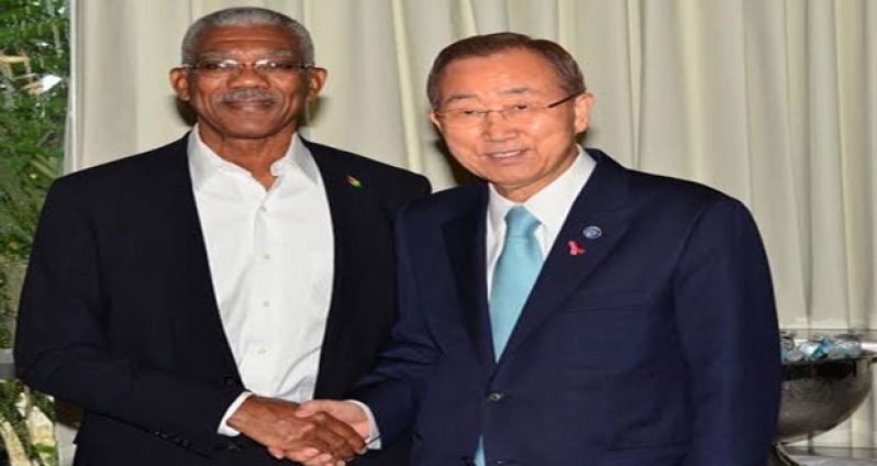 President David Granger met with United Nations Secretary General Ban Ki- Moon at the Hilton Hotel in Barbados where the 36th Regular meeting of the CARICOM Heads of Government was being held. President Granger was able to put forward Guyana's position on the territorial dispute with Venezuela to the UN Secretary General who offered to mediate the border controversy between the two countries.