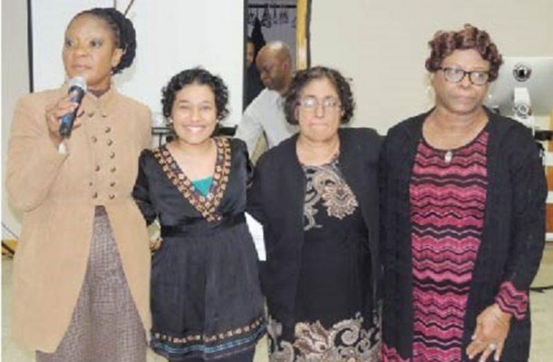 From Left: Dr. Rose October-Edun, Cancer fighter – Marcia Priyadarshani-Gordon, her mother – Alexandria Gordon, President of HEROC – Lorna Welshman-Neblett