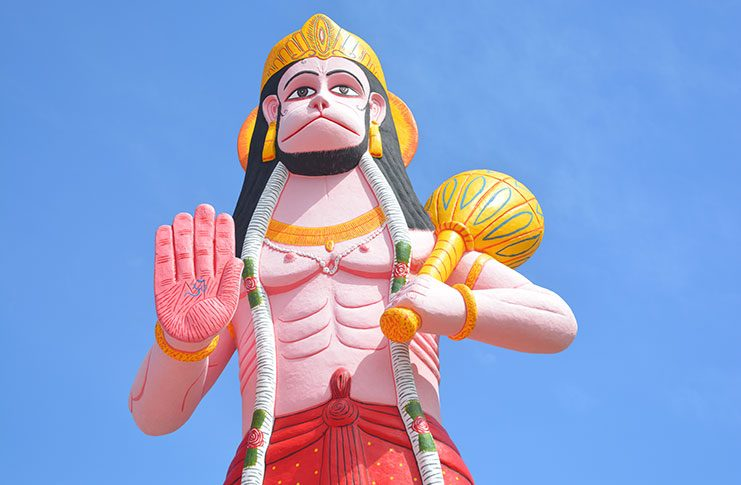 The towering murti next to the Rama Krishna Mandir at Blenheim, Leguan