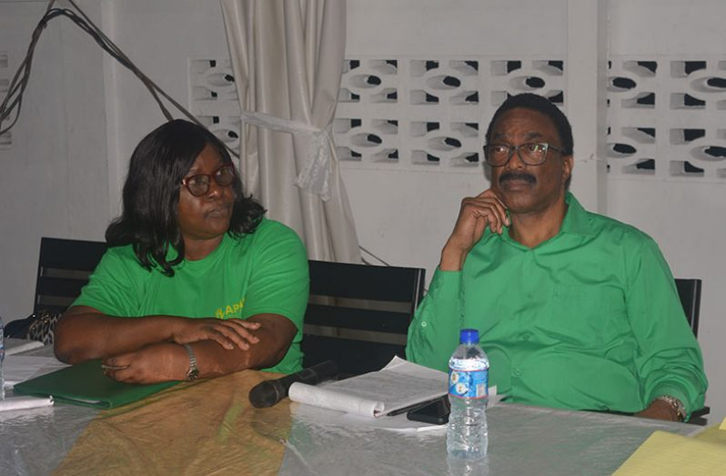 Attorney-General and Minister of Legal Affairs, Basil Williams and Minister within the Ministry of Public Health, Dr Karen Cummings at Sunday's meeting with members of the North Haslington Co-operative Society
