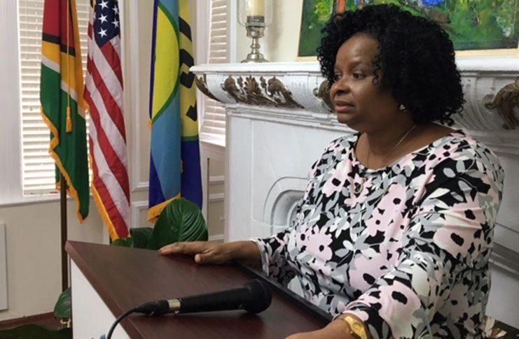 Minister of Public Health, Volda Lawrence, addressing U.S.-based Guyanese at the Guyana Embassy in Washington DC, last Friday