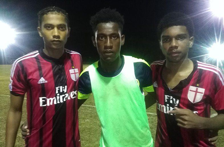 From left: Capital FC 's Duquan Hercules, goalkeeper Norbert and Andre Mayers