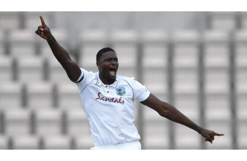 West Indies captain Jason Holder celebrates dismissing Ben Stokes on day two of the opening Test at the Ageas Bowl (Getty Images)