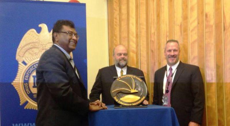 L-R: Minister Khemraj Ramjattan, US Ambassador Perry Holloway and Regional Director, D.E.A Matthew Donahue